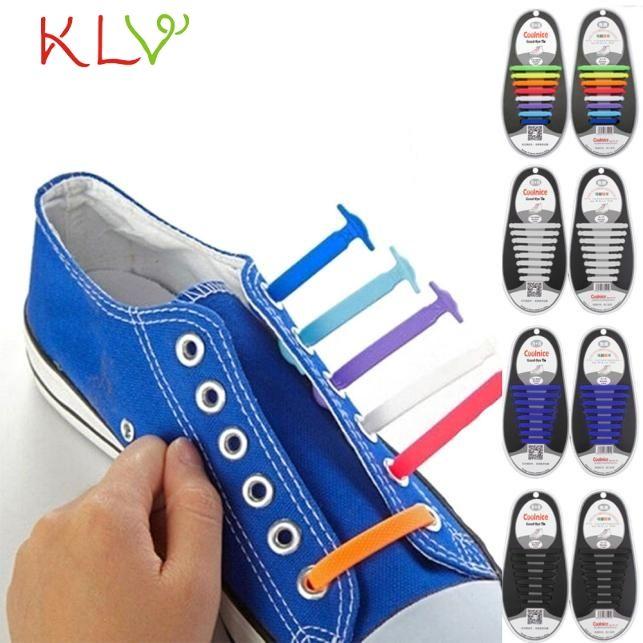 Klv jazmín 16 unids/set hombres de las mujeres unisex sin atar cordones de los zapatos cordones de los zapatos de silicona elástica fit todas las zapatillas de deporte 0215 envío de la gota