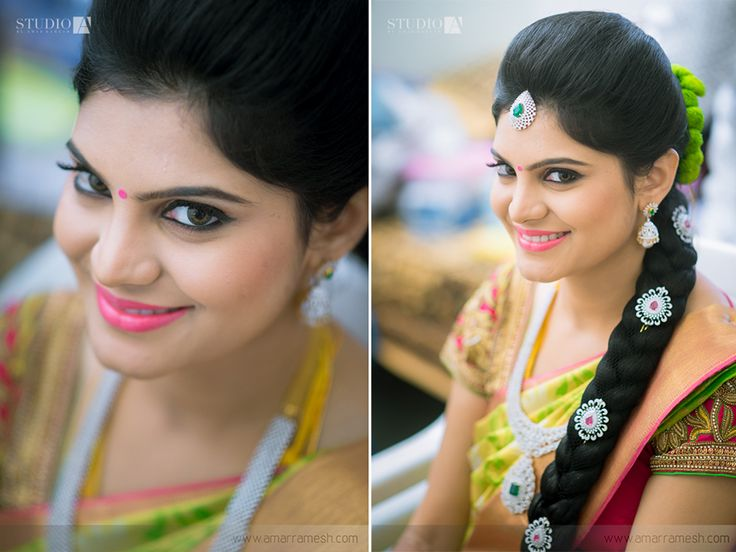 Traditional Southern Indian bride wearing bridal silk saree, jewellery and hairstyle. #IndianBridalMakeup #IndianBridalFashion #HairAccessories Temple jewelry. Jhumkis. Silk kanchipuram sari. Braid with fresh flowers. Tamil bride. Telugu bride. Kannada bride. Hindu bride. Malayalee bride