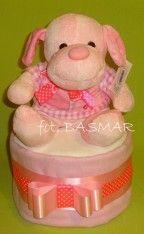 Tort z pieluszek z maskotką ;)