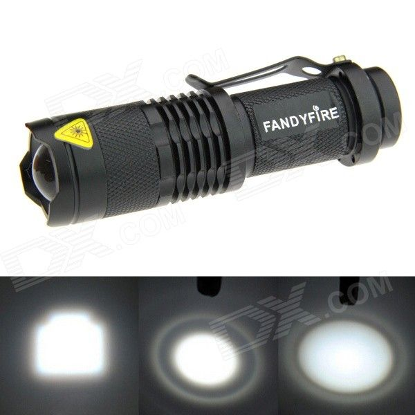 FANDYFIRE XP-E Q5 LED 400lm 1-Mode Zooming Bright White Light Flashlight - Black (1 x AA / 14500). Color Black Quantity 1 Piece Material Aluminum alloy Emitter Brand Others,N/A LED Type XP-E Emitter BIN Q5 Color BIN Cool White Number of Emitters 1 Working Voltage 1.2~3.7 V Power Supply 1 x 14500 / AA battery (not included) Current 1.8 A Theoretical Lumens 500 lumens Actual Lumens 400~500 lumens Runtime N/A Hour Number of Modes 1 Mode Arrangement Hi Mode Memory No Switch Type Reverse clicky…