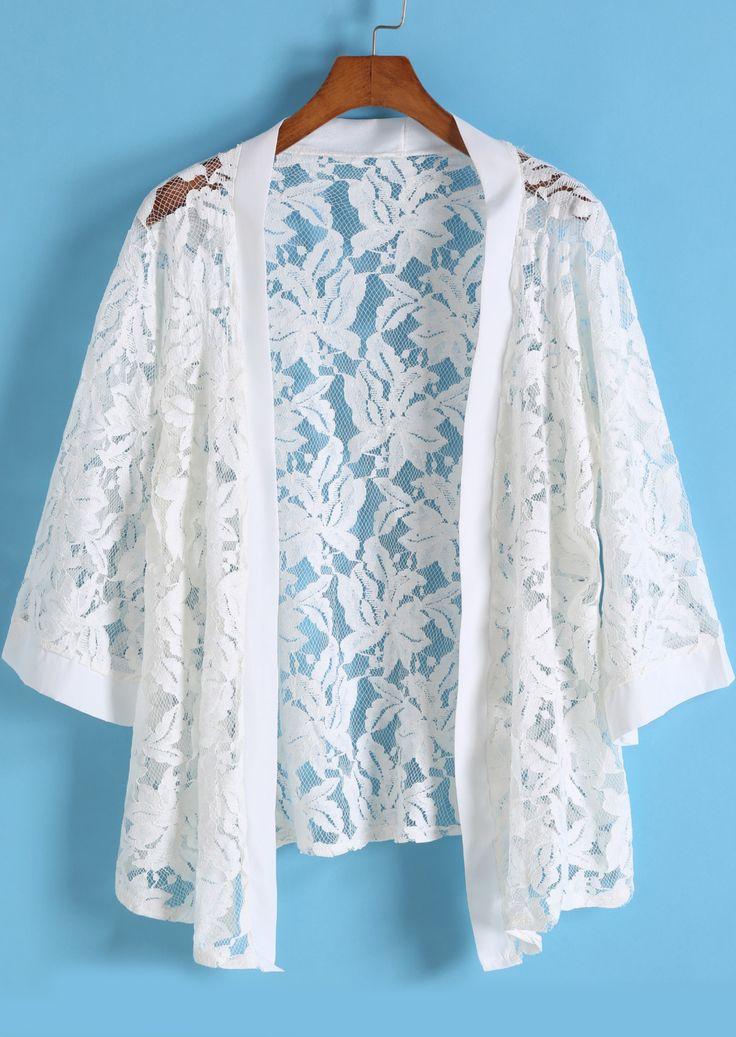 Kimono flores crochet encaje-Sheinside