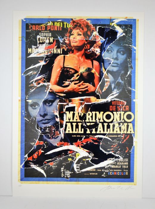 Mimmo Rotella - Matrimonio all'Italiana  Mimmo Rotella 'Matrimonio all'Italiana'.Meerdere decollage met poster tranen op scherm afdrukondersteuning toegepast.70 x 100 cm.Gesigneerd rechtsonder en genummerd van linksonder.Nr. 12/125 kopiëren.Editie van 125 Arabische cijfers Romeinse cijfers in 50 en sommige A.P.Reliëf-stempel door de Fondazione Rotella Mimmo op linksonder.Werk gepubliceerd in de catalogus Mimmo Rotella multipli decollage Silvana Editore pagina 112 en 113.De catalogus is niet…