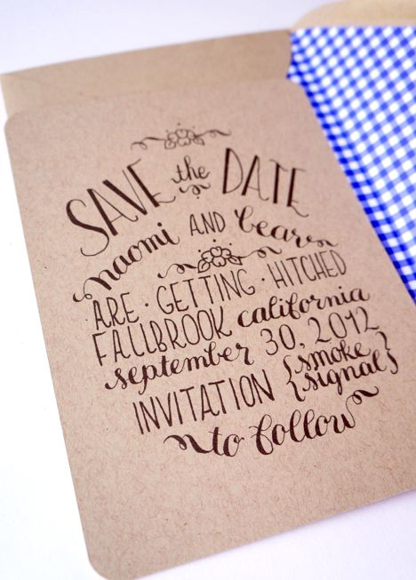 Calligraphy Save the Dates via Oh So Beautiful Paper Love the combination of lettering styles... and the smoke signals haha