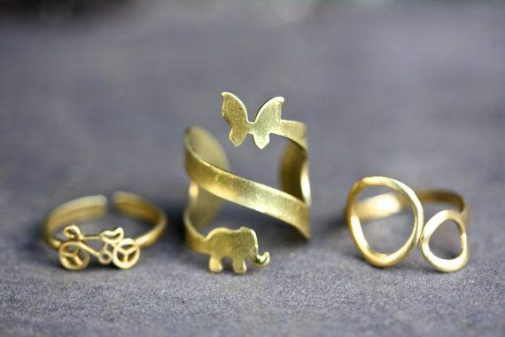 Bicicletta anello anello in ottone anelli di PalomitaJewellery