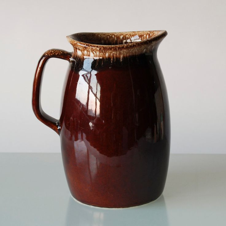 Hull Pottery Pitcher Brown Drip or Mirror Brown Pottery