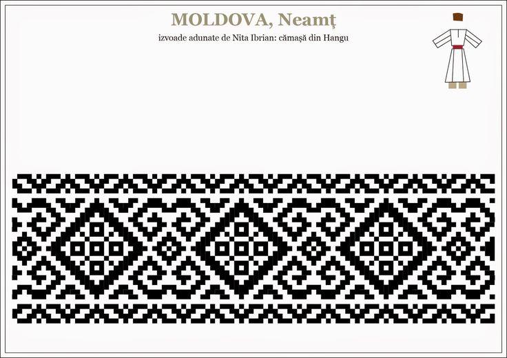 Semne Cusute: motive traditionale romanesti - camasa barbateasca MOLDOVA, Neamt