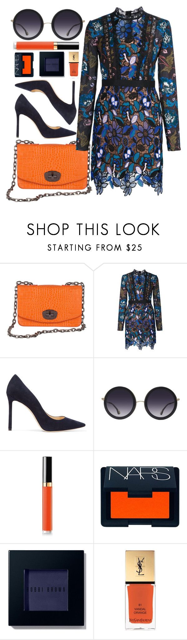 """""""Dinner Date"""" by mezzanotteofficial on Polyvore featuring self-portrait, Jimmy Choo, Alice + Olivia, Chanel, NARS Cosmetics, Bobbi Brown Cosmetics, Yves Saint Laurent, Blue and orange"""
