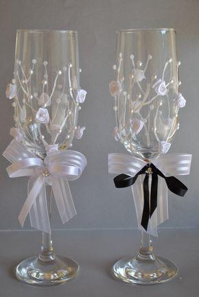 taça decorada para lembrança de casamento - Pesquisa Google