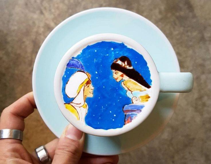 Kangbin Lee, Cafe C. Through, creamart, cremart, latte, lattes, latte art, coffee, coffee art, art, artwork, paint, painting, South Korea, Korea