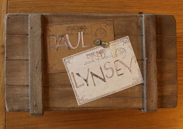 Handmade Personalised Wooden Wedding Wishes Box with twig pen and vintage s £27.99