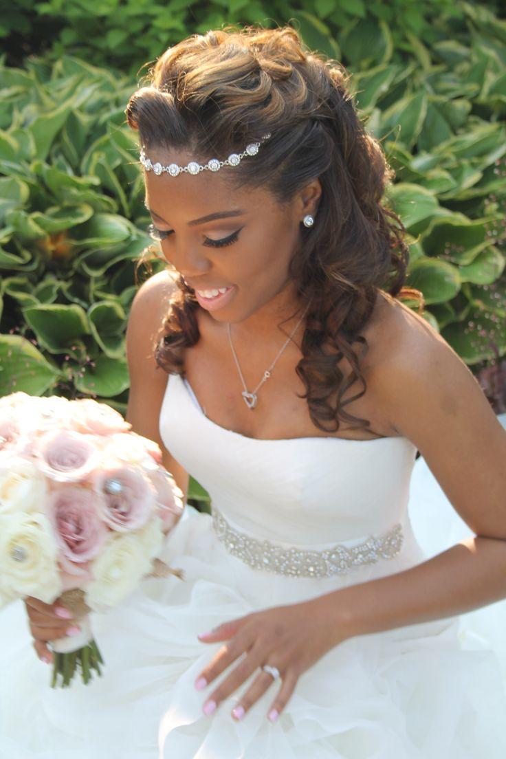 Elegant bridal up-do hairstyle! Halo hair piece! No vail wedding! Vera Wang wedding dress! Summer wedding! Blush bouquet! Bouquet with crystals!