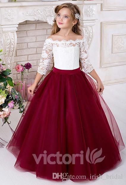 Lace 2016 Half Sleeves Tulle Flower Girl Dresses Vintage Flower Girl Wedding Dresses Kids Pageant Dresses Bridal Shoes Cheap Dresses From Irish_bridal, $35.18| Dhgate.Com
