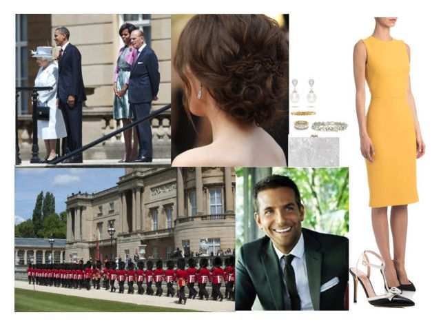 """Welcomed the President of the United States, Barack Obama, and his wife Michelle at Buckingham Palace with the King and Queen and David"" by pacqueline-ngoya ❤ liked on Polyvore featuring Effy Jewelry, Erickson Beamon, Dolce&Gabbana, Kate Spade and Charlotte Olympia"