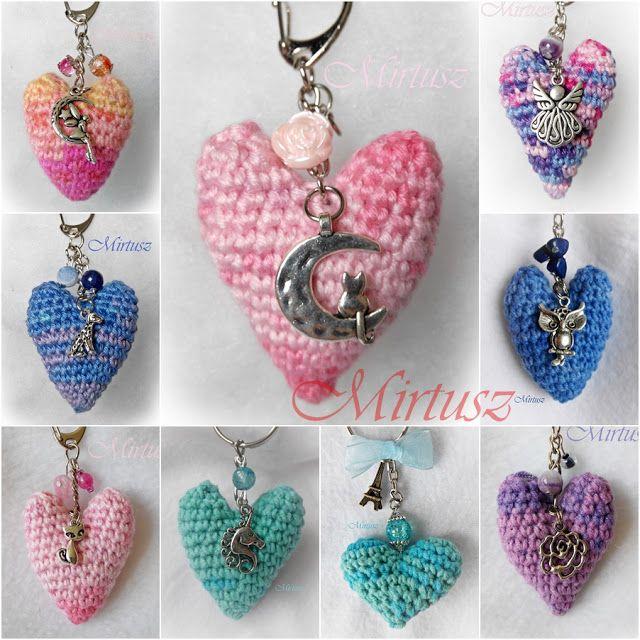Mirtusz : Melyik szívet válasszam ??? Horgolt szív kulcstartók - fém medállal. Táskára is tuti!!
