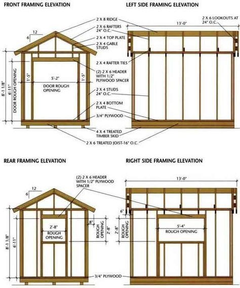 Shed Plans - shed blueprints 8x12 Framing Elevation Front and Back - Now You Can Build ANY Shed In A Weekend Even If You've Zero Woodworking Experience!