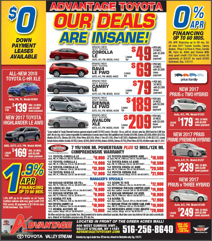 Tested. Trusted. Toyota. These insane purchase and lease specials are being offered only through 07/31/17, so get 'em while you can! Let's Go Places.