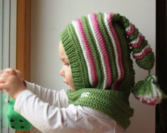READY TO SHIP all sizes!! Knit Balaclava for Baby, Toddler, Child Hoodie Hat with Pom Pom Tail, Wool Elf Hat