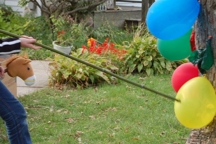 And some balloon-bamboo jousting astride a noble steed: