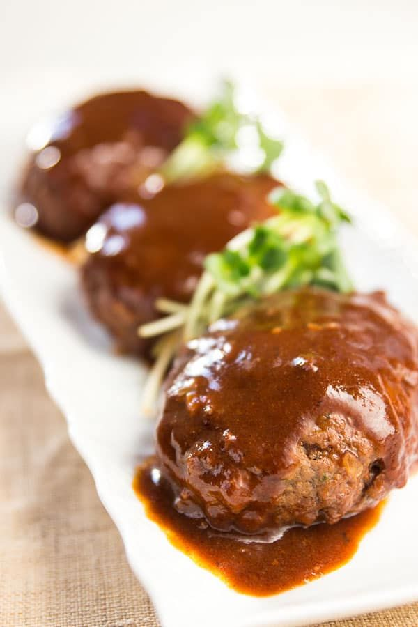 This Japanese take on Salisbury Steak is tender, moist and enrobed in a tangy sweet sauce making it perfect to add to bentos boxes for lunch.