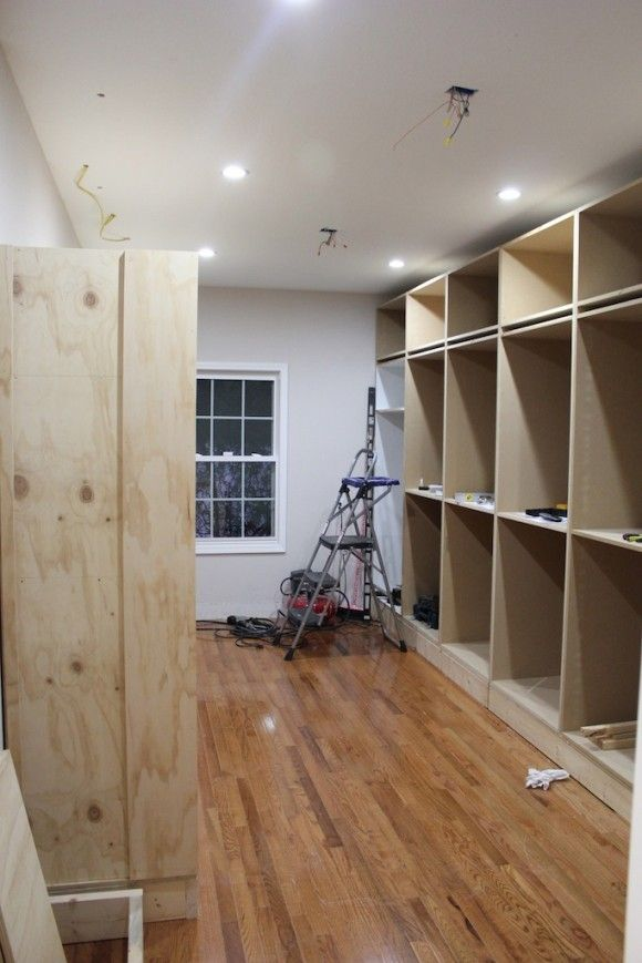 Closet materials for building one's own: MDF is easy work with, plywood is lighter weight. Sawdust Girl switched to plywood halfway through because her boxes were gargantuan and heavy.