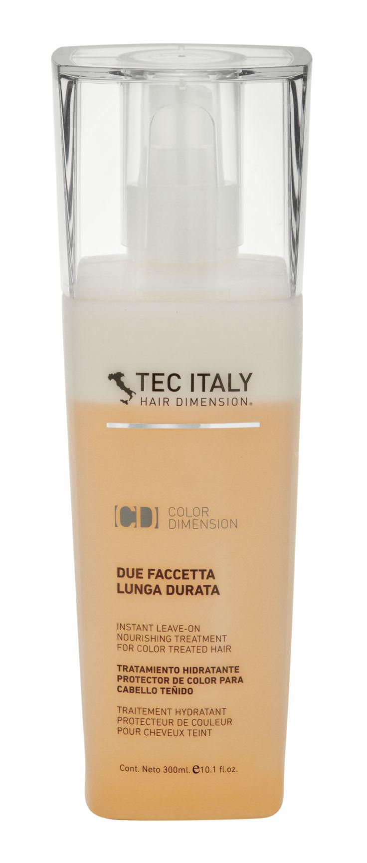DUE FACCETTA LUNGA DURATTA:  Tratamiento nutritivo instantáneo diseñado para proteger y fijar el color. Se deja puesto.   Formulado para sellar la cutícula optimizando el brillo y evitando la pérdida prematura del color en el cabello. Previene la estática, desenreda y mejora el manejo del cabello.  http://www.tecitaly.com.mx/cd-duefaccettalungaduratta.php