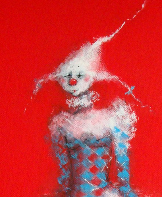 Ballerina Clown Painting Red Whimsical Cute New Baby Boy or
