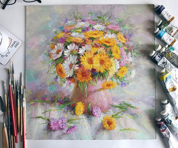 Large Original Oil Painting still life colorful  Flowers