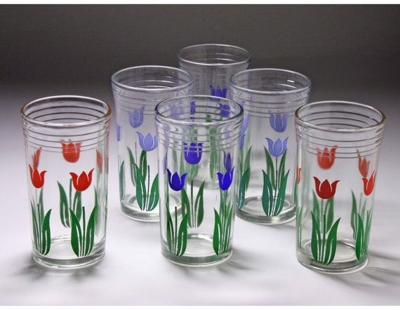 Vintage Swanky Swig Tulip Glasses  Set of 6  $38.00
