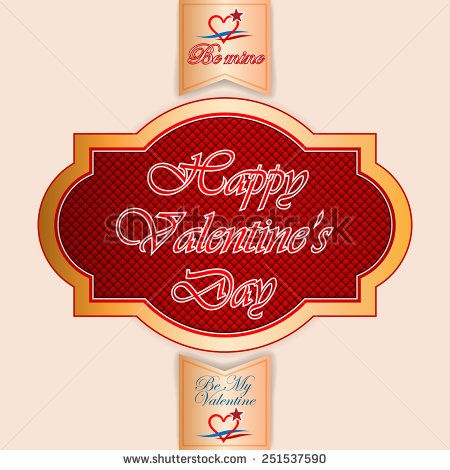 Vintage  labels with Happy Valentine's Day text; Be My Valentine/Be Mine text and nice heart logo.  - stock photo