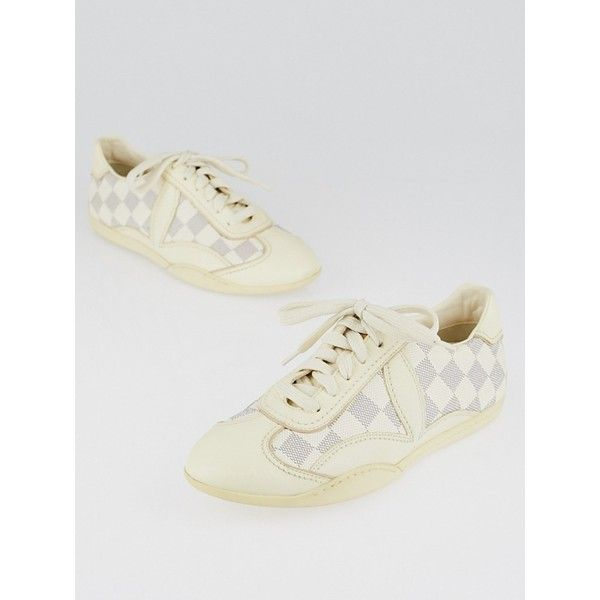 Pre-owned Louis Vuitton Damier Azur Sneakers ($245) ❤ liked on Polyvore featuring shoes, sneakers, leather shoes, louis vuitton shoes, real leather shoes, plimsoll shoes and louis vuitton