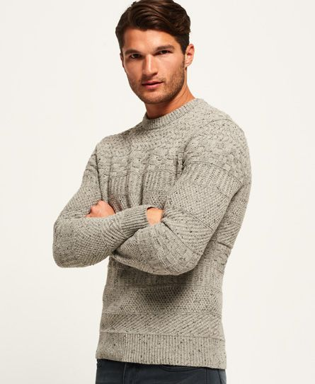Shop Superdry Mens Skolm Crew Jumper in Flannel Tweed. Buy now with free  delivery from the Official Superdry Store.