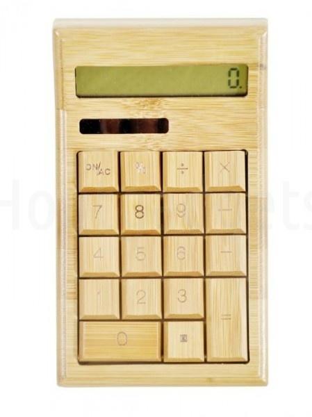 Bamboe houten calculator / rekenmachine