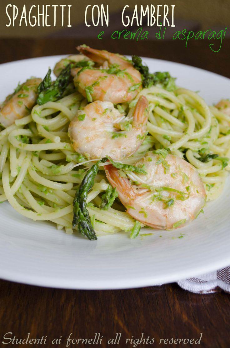 spaghetti con gamberi e asparagi ricetta primo gustoso