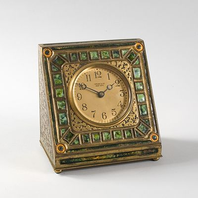 A Tiffany Studios New York gilt bronze and enamel clock, found at Macklowe Gallery