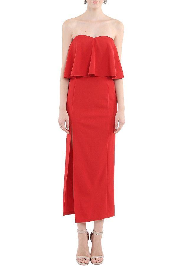 Her Velvet Vase Flounce Strapless Maxi Dress in Red