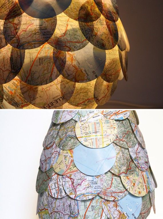 Road Map Table Lamp  Paper Shingles Covered by Zipper8Lighting, $80.00