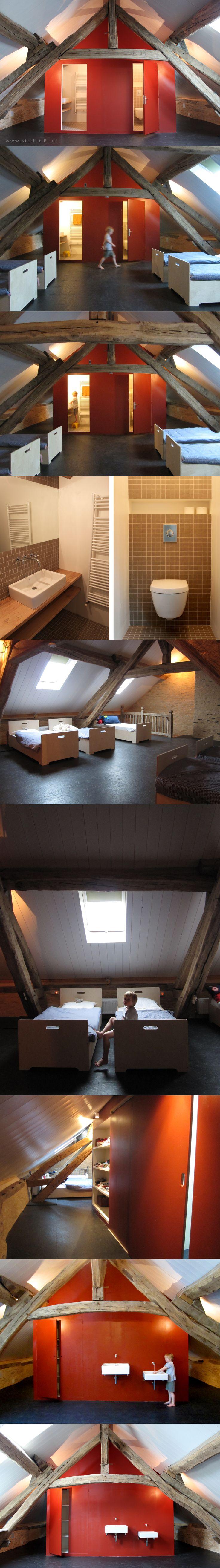 studio-EI  --  Interior Design  |  Zolder 02 Frankrijk.:  kinderslaapzolder, kinderbedjes, badkamer, kastenwand en atelier. Boerderij, Frankrijk.  |  www.studio-ei.nl