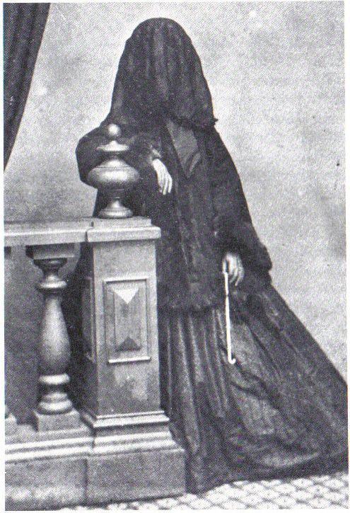 Widows, in particular, wore mourning dress, called widow's weeds, complete with a veil when out in public for a long period of time. Mourning dress was limited to people of the highest social strata. Sumptuary laws established rules for dress, and the practice of wearing black during bereavement was not followed by the lower classes until much later. Constraints against the wearing of black mourning attire was thought to prevent people from aping their betters.