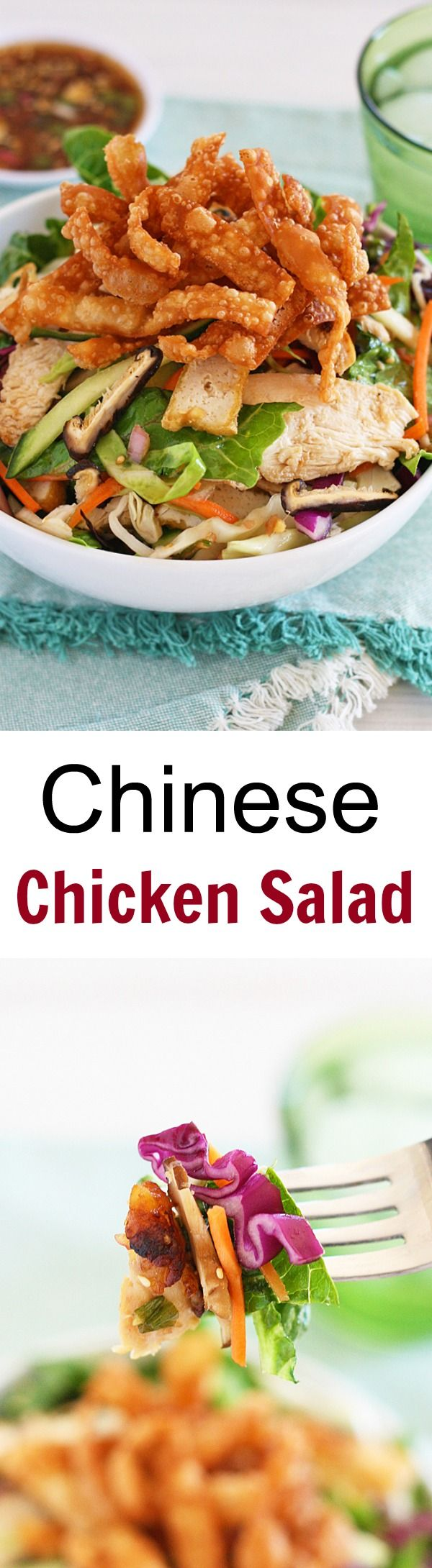 A chicken salad recipe that is healthy and so easy to make. It tastes so good you'll want to eat this Chinese chicken salad every day | rasamalaysia.com