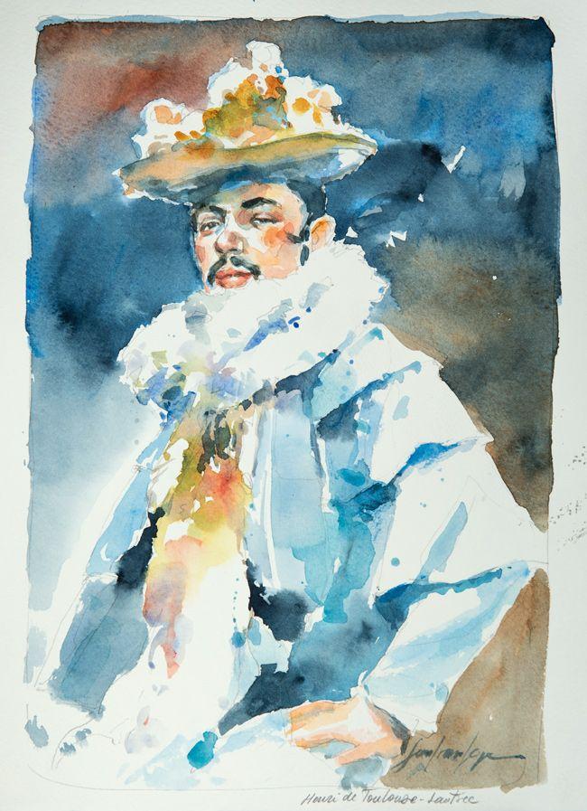 Henri de Toulouse Lautrec. Une série de portraits à l'aquarelle en hommage aux grands artistes du 19 ème au 20 ème siècle. Le lien vers mon blog : www.humericbox.com