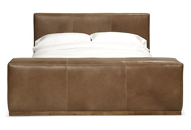 tan leather bedframe marlton bed leather on
