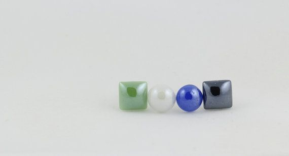Circle and Square Stud Earrings Set - Mix and Match - Shape Earrings - Circle and Square Earrings - Shiny - White - Black - Green - Blue