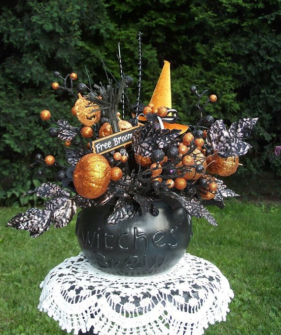 Halloween Floral Arrangement / Halloween Decor / Halloween Centerpiece / Black and Orange Witch Decor / By English Rose Deisgns Oh on Etsy, $57.99