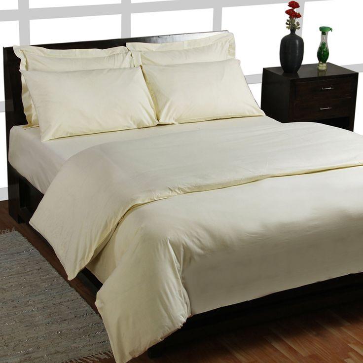 Homescapes Lot BIO Housse de Couette de 220 x 240 cm et Taie d'oreiller de 80 x 80 cm avec fermeture éclaire de couleur Crème qualité percale 150 fils/cm²