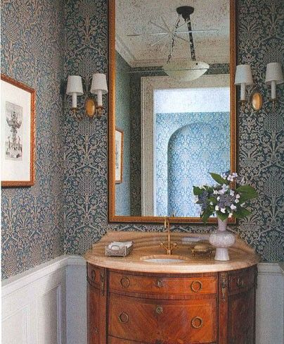 Powder Room With Ornate Wallcovering And Wainscotting AD