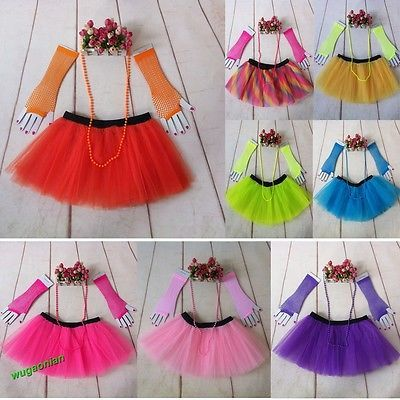 Fashion 80s Neon UV Adult Tutu Skirt Beads Hen Fancy Dress Party Costumes 3Pcs