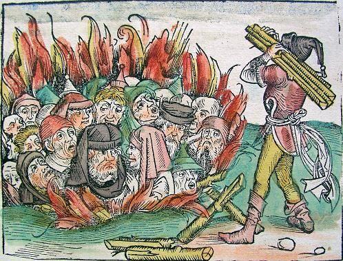 Crema de jueus durant la Pesta Negra. Imatge de la Crònica de Nuremberg