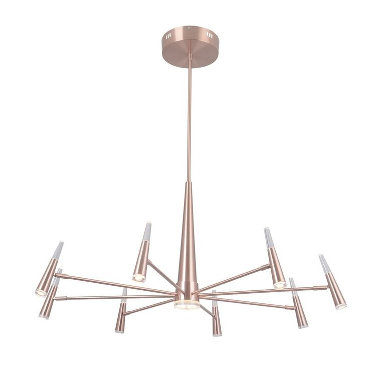 Mid-Century Modern LED Chandelier Gold Vanguard by Craftmade Lighting at Destination Lighting