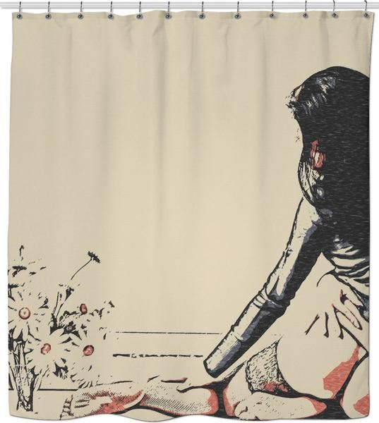 Flower Girl - sensual erotic, perfect girl in seducing lingerie, hot woman nude shower curtain - item printed by RageOn.com, also available at casemiroarts.com