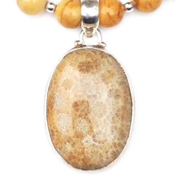 Yellow Jasper Necklace w/ Fossil Coral by ChesapeakeGemstone